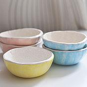 Посуда ручной работы. Ярмарка Мастеров - ручная работа пиала салатник белый кружевной розовый желтый  или голубой. Handmade.
