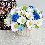 Цветы и флористика ручной работы. Ярмарка Мастеров - ручная работа Букет из полимерной глины с ромашками и васильками. Handmade.
