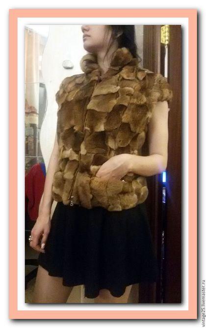 Одежда. Ярмарка Мастеров - ручная работа. Купить Жилет из натурального меха (сурок). Handmade. Комбинированный, жилетка из меха, жилет из меха