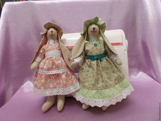 Куклы Тильды ручной работы. Ярмарка Мастеров - ручная работа. Купить Зайчики Дуняша и Маняша. Handmade. Комбинированный, хлопок 100%