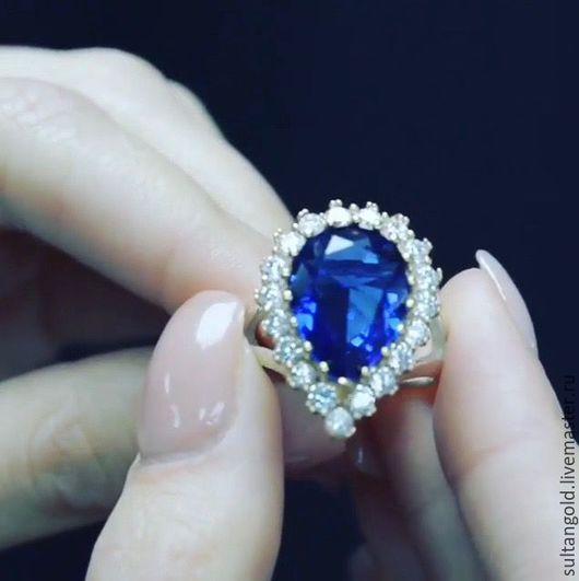 Кольца ручной работы. Ярмарка Мастеров - ручная работа. Купить Кольцо Хюррем. Handmade. Синее кольцо, кольцо с камнем, каплевидный