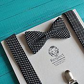"""Аксессуары ручной работы. Ярмарка Мастеров - ручная работа Черная галстук бабочка в горошек + подтяжки """"Черный принц"""". Handmade."""