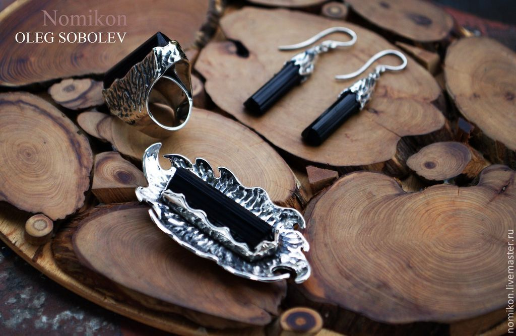 Set with black tourmaline (schorl), Jewelry Sets, St. Petersburg,  Фото №1