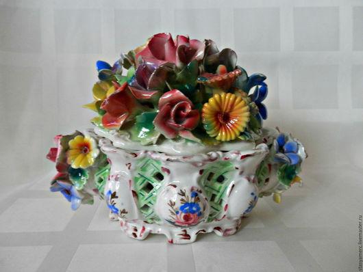 Винтажная посуда. Ярмарка Мастеров - ручная работа. Купить Конфетница бонбоньерка шкатулка Италия. Handmade. Бонбоньерка, цветы, фарфор