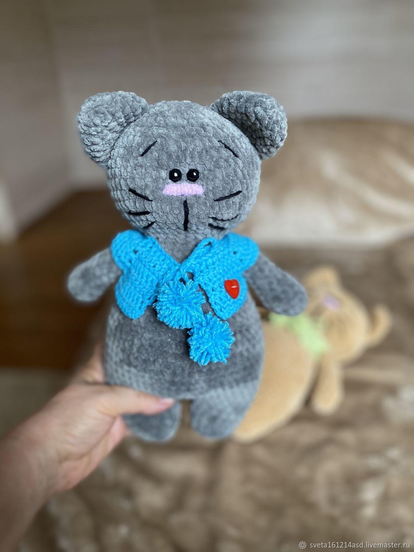 Вязаный серый плюшевый котик, Мягкие игрушки, Красногорск,  Фото №1