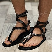 Обувь ручной работы handmade. Livemaster - original item greek sandals unisex brown leather croco. Handmade.