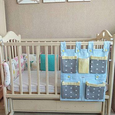 Для дома и интерьера ручной работы. Ярмарка Мастеров - ручная работа Органайзер (кармашки) на детскую кроватку. Handmade.