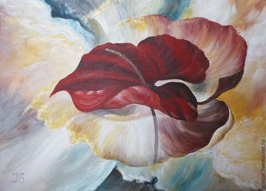"""Абстракция ручной работы. Ярмарка Мастеров - ручная работа. Купить картина """"Планета Антуриум"""". Handmade. Ярко-красный, красный, бежевый"""