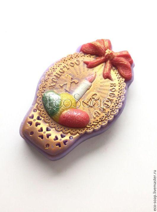 Мыло ручной работы. `Пасхальная открытка. Свеча`.  Подарок на Пасху. Пасхальный сувенир. Handmade.