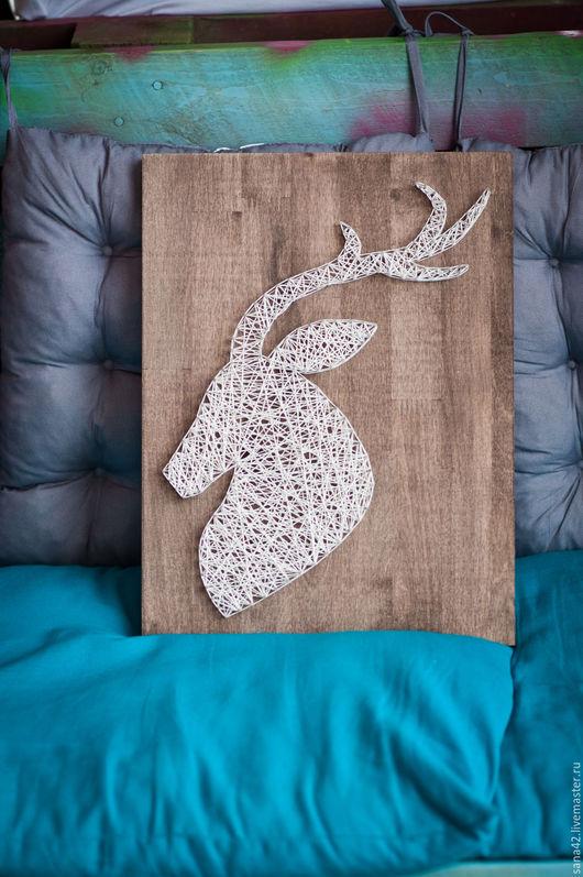 Животные ручной работы. Ярмарка Мастеров - ручная работа. Купить Олень (профиль) в технике String Art. Handmade. Белый, картина
