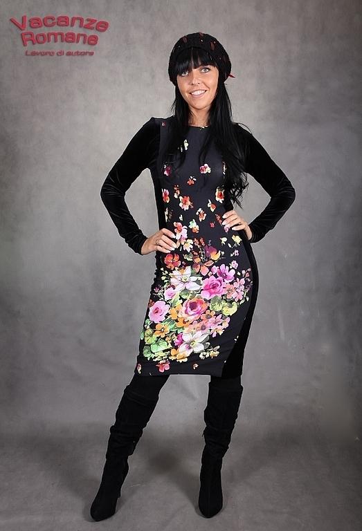 Платья ручной работы. Ярмарка Мастеров - ручная работа. Купить VACANZE ROMANE-784. Handmade. Цветочный, бархатное платье