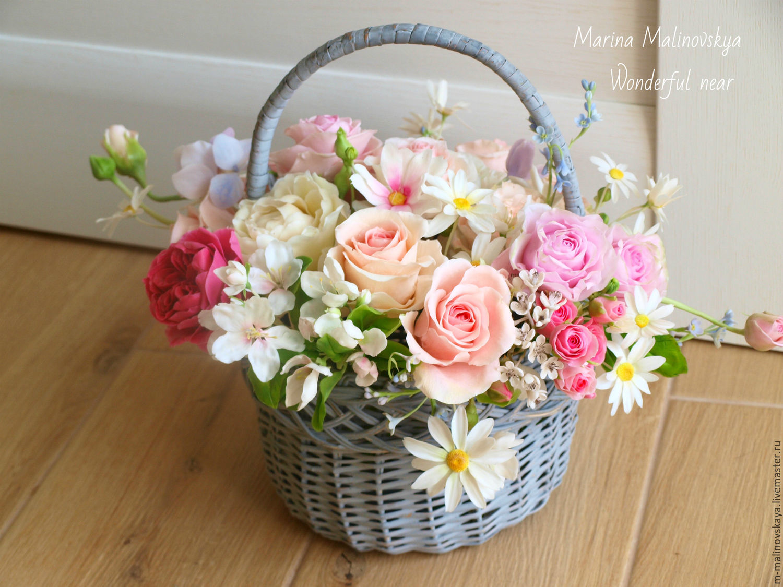 Корзинка с цветами открытки с