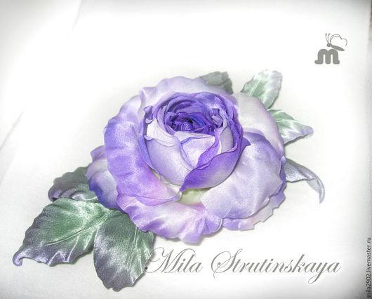 Броши ручной работы. Ярмарка Мастеров - ручная работа. Купить Роза из шелка. Украшение брошь. Фиолетовая роза.Цветы из шелка. Handmade.