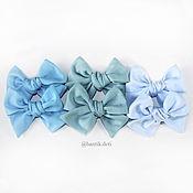 Резинка для волос ручной работы. Ярмарка Мастеров - ручная работа Светло-голубой бантик, заколка, повязочка. Handmade.