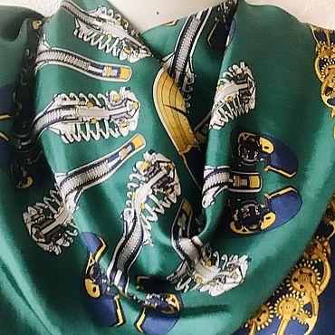 Винтаж ручной работы. Ярмарка Мастеров - ручная работа Шелковая саржа — платок в стиле Гермес. Handmade.