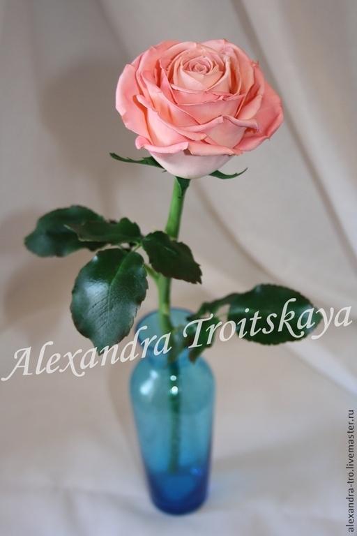 """Цветы ручной работы. Ярмарка Мастеров - ручная работа. Купить МАСТЕР-КЛАСС по созданию розы """"Розовые грезы"""" из фоамирана на стебле и. Handmade."""