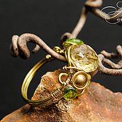 """Украшения ручной работы. Ярмарка Мастеров - ручная работа Кольцо """"Златовласка"""" (топаз, хризолит, цирконы) wire wrap. Handmade."""