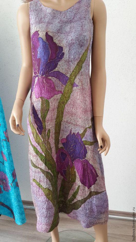 """Платья ручной работы. Ярмарка Мастеров - ручная работа. Купить Летнее валяное платье """"Ирисы"""". Handmade. Комбинированный, шелк натуральный"""