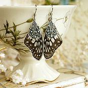 Украшения ручной работы. Ярмарка Мастеров - ручная работа Серьги с крыльями тропической бабочки. Handmade.
