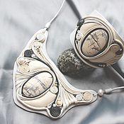 """Украшения handmade. Livemaster - original item Комплект """"Сливочный грильяж"""". Украшение из кожи и камня. Handmade."""