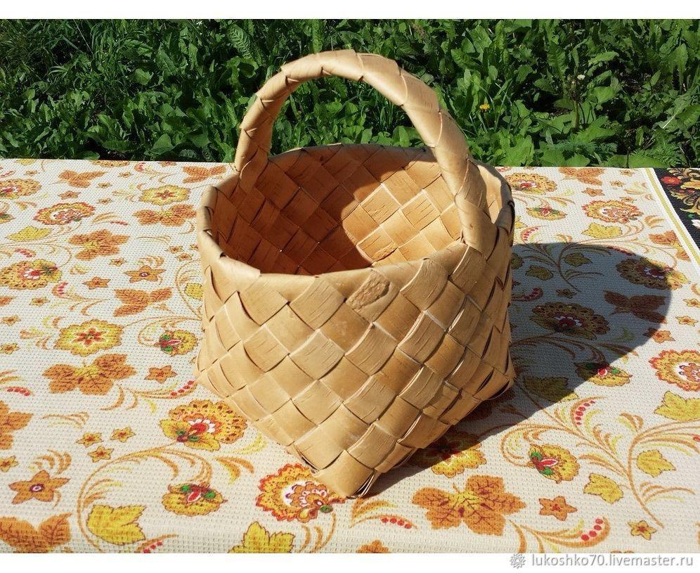 Basket made of birch bark wicker medium. Basket for storage, Basket, Tomsk,  Фото №1
