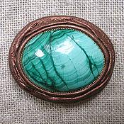 Украшения handmade. Livemaster - original item Brooch with malachite in skin. Handmade.