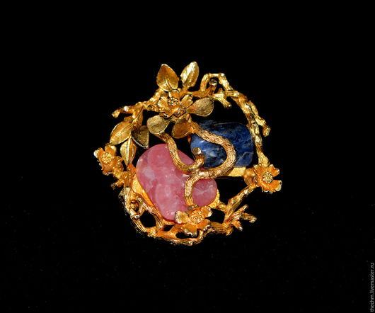 Винтажные украшения. Ярмарка Мастеров - ручная работа. Купить Coro (Kоро) Винтажная брошка с розовым и синим камнями. Handmade. Комбинированный