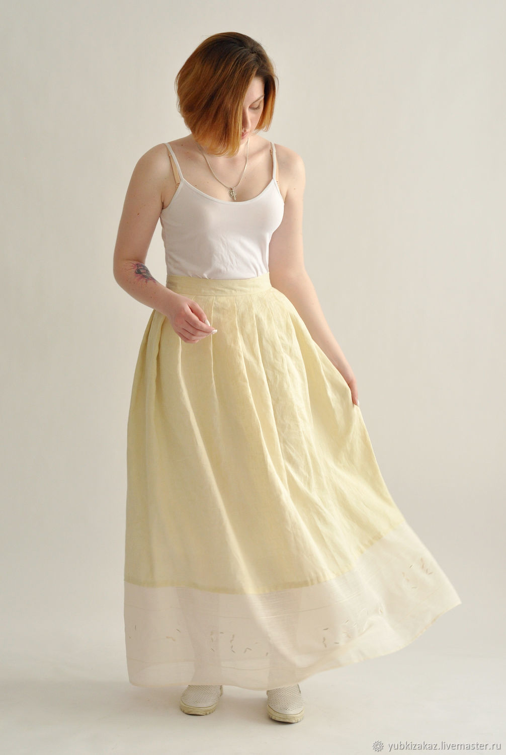 Linen skirt with embroidery, Skirts, Novosibirsk,  Фото №1