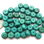 Материалы для творчества ручной работы. Ярмарка Мастеров - ручная работа Турквенит 43 камня набор рондели бусины имитация бирюзы. Handmade.