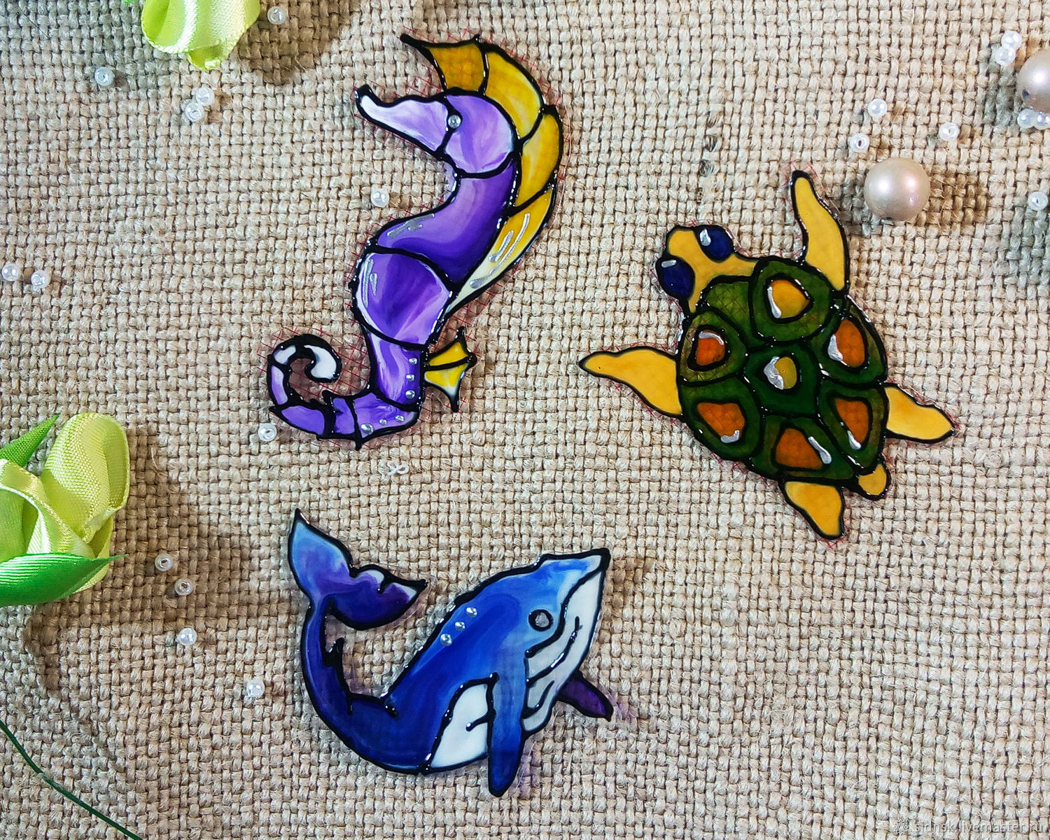 Stained glass stickers-stickers with sea animals, Interior elements, Novosibirsk,  Фото №1
