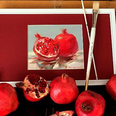 """Картины и панно ручной работы. Ярмарка Мастеров - ручная работа """"Пурпурный гранат"""" Картина маслом Красный Бордовый Натюрморт. Handmade."""
