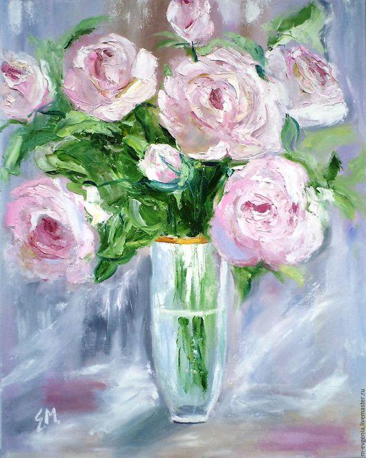"""Картины цветов ручной работы. Ярмарка Мастеров - ручная работа. Купить Картина маслом """"Утренние розы"""" (розовый, белый),40/50 см. Handmade."""