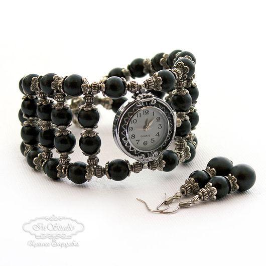 Часы ручной работы. Ярмарка Мастеров - ручная работа. Купить Часы браслет из шунгита Черный бархат. Handmade. широкий браслет
