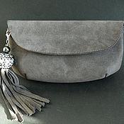 Сумки и аксессуары handmade. Livemaster - original item clutches: Dark grey suede clutch with a brush. Handmade.