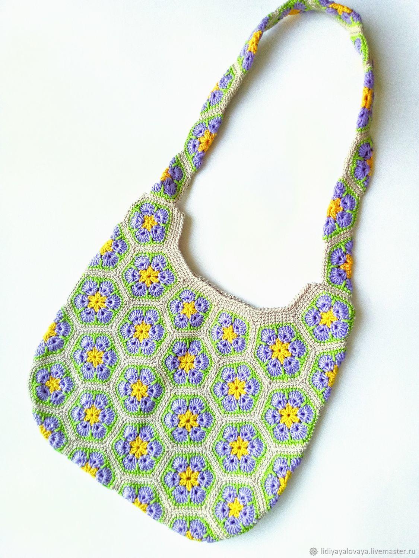 Bag: Bag knitted African flower beige cotton, Sacks, Bataysk,  Фото №1