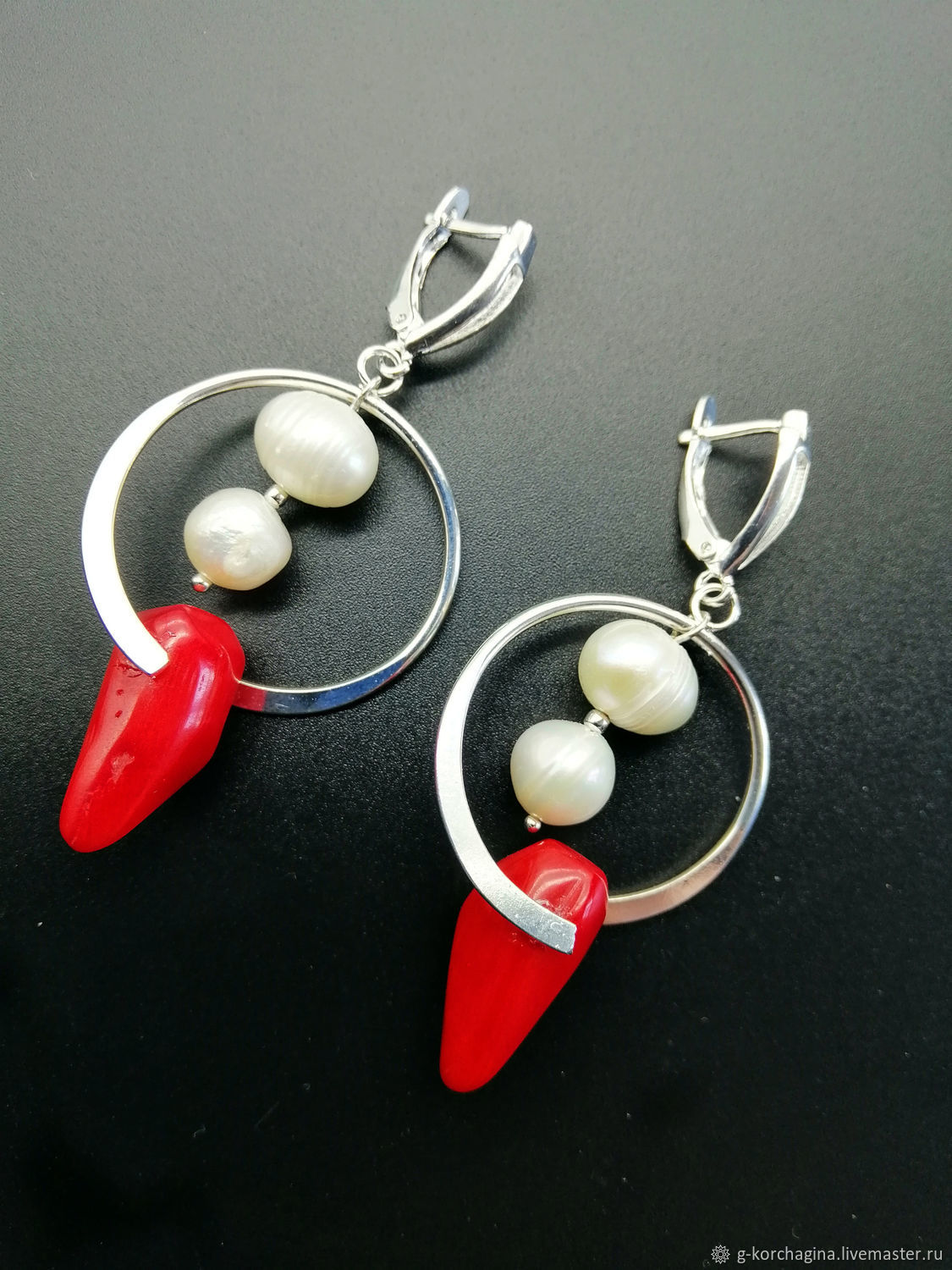Large silver earrings with pearl and coral ' Peppers', Earrings, Voronezh,  Фото №1