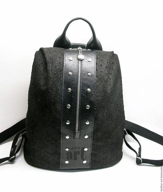 Рюкзаки ручной работы. Ярмарка Мастеров - ручная работа. Купить Рюкзак кожаный женский Молодежный. Handmade. Черный, рюкзак из кожи