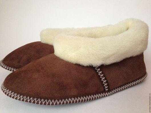Обувь ручной работы. Ярмарка Мастеров - ручная работа. Купить Меховые чуни мужские на мягкой подошве. Handmade. Комбинированный