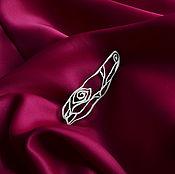Украшения ручной работы. Ярмарка Мастеров - ручная работа РОЗА брошь стильная дизайнерская латунь посеребение цветок ручная. Handmade.