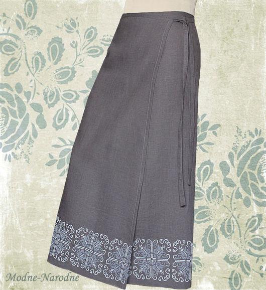 Модная одежда с ручной вышивкой. Творческое ателье modne-narodne. Льняная юбка с ручной вышивкой Осенний Блюз 2.