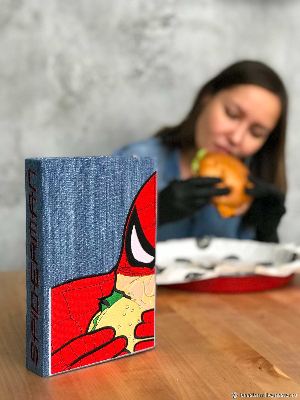 Женские сумки ручной работы. Ярмарка Мастеров - ручная работа. Купить Клатч-книга 'Человек-паук'. Handmade. Голубой, джинса