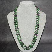handmade. Livemaster - original item Long beads made of natural ruby in zoisite. Handmade.