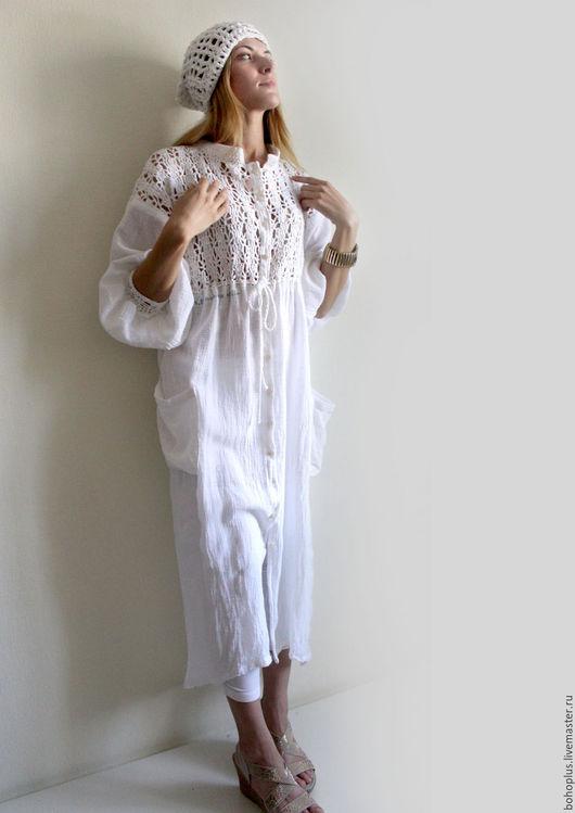 """Платья ручной работы. Ярмарка Мастеров - ручная работа. Купить Платье-рубашка  из хб пряжи  и льняной марлевки """"Шум"""". Handmade."""