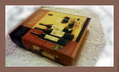 """Винтажные предметы интерьера. Заказать Большая шкатулка ФОЛИАНТ вино. Винтажный салон """"Консуэлло"""". Ярмарка Мастеров. Винтажная шктулка, вино"""