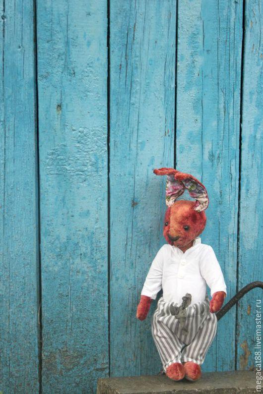 Мишки Тедди ручной работы. Ярмарка Мастеров - ручная работа. Купить Зайка тедди Павлуша. Handmade. Бордовый, зайка, пуговицы