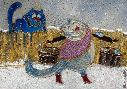 Животные ручной работы. Ярмарка Мастеров - ручная работа. Купить Несет Мурка воду... Синие коты Рины Зенюк. Витражная картина.. Handmade.