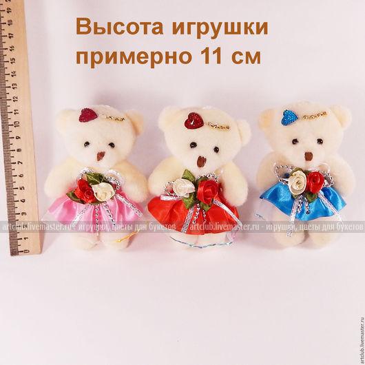 Материалы для флористики ручной работы. Ярмарка Мастеров - ручная работа. Купить Маленькая мягкая игрушка плюшевый мишка, бежевый, в платье с розочками. Handmade.