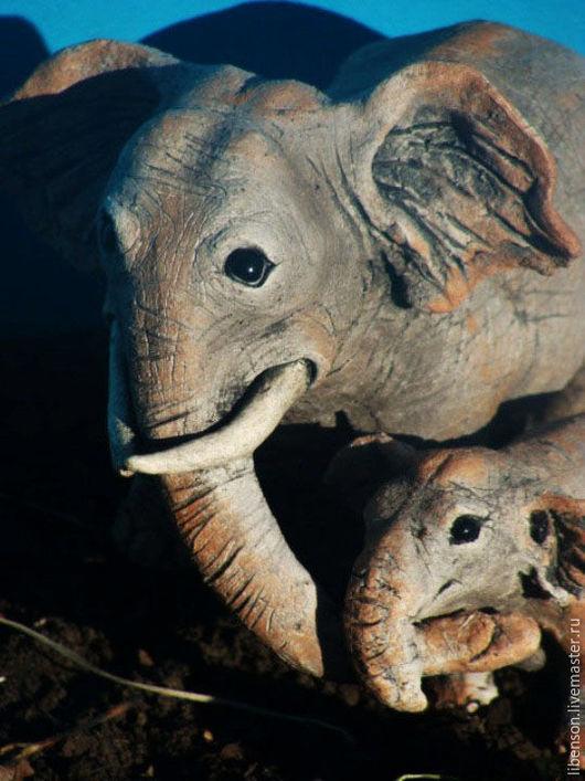 Статуэтки ручной работы. Ярмарка Мастеров - ручная работа. Купить Слоны. Handmade. Серый, фигурки животных