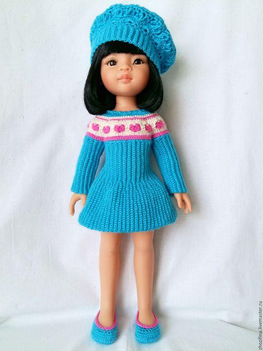Одежда для кукол ручной работы. Ярмарка Мастеров - ручная работа. Купить Сердечное платье. Handmade. Голубой, Вязание крючком