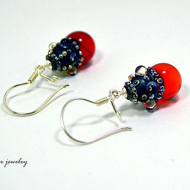 Decorations handmade. Livemaster - original item 925 sterling silver earrings with red lampwork bead. Handmade.